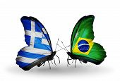 Two Butterflies With Flags On Wings As Symbol Of Relations Greece And Brazil