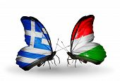 Two Butterflies With Flags On Wings As Symbol Of Relations Greece And Hungary