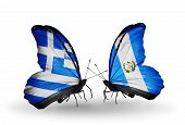 Two Butterflies With Flags On Wings As Symbol Of Relations Greece And Guatemala