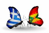 Two Butterflies With Flags On Wings As Symbol Of Relations Greece And Grenada