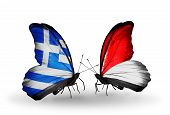 Two Butterflies With Flags On Wings As Symbol Of Relations Greece And Monaco, Indonesia