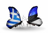 Two Butterflies With Flags On Wings As Symbol Of Relations Greece And Estonia