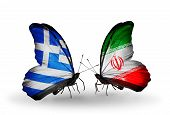 Two Butterflies With Flags On Wings As Symbol Of Relations Greece And Iran