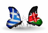 Two Butterflies With Flags On Wings As Symbol Of Relations Greece And Kenya