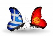 Two Butterflies With Flags On Wings As Symbol Of Relations Greece And Kirghiz