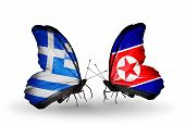 Two Butterflies With Flags On Wings As Symbol Of Relations Greece And North Korea