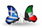 Two Butterflies With Flags On Wings As Symbol Of Relations Greece And Kuwait