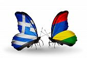 Two Butterflies With Flags On Wings As Symbol Of Relations Greece And Mauritius