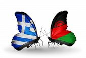 Two Butterflies With Flags On Wings As Symbol Of Relations Greece And Malawi