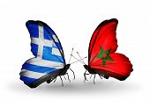 Two Butterflies With Flags On Wings As Symbol Of Relations Greece And Morocco
