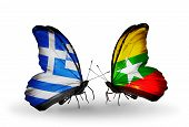 Two Butterflies With Flags On Wings As Symbol Of Relations Greece And Myanmar