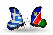 Two Butterflies With Flags On Wings As Symbol Of Relations Greece And Namibia