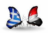 Two Butterflies With Flags On Wings As Symbol Of Relations Greece And Yemen