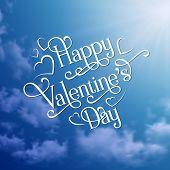 Happy Valentine's Day card on sky background