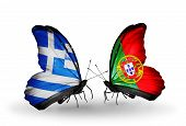 Two Butterflies With Flags On Wings As Symbol Of Relations Greece And Portugal