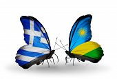 Two Butterflies With Flags On Wings As Symbol Of Relations Greece And Rwanda