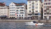 Police Boat On The Limmat River In Zurich