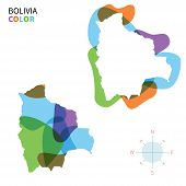 Abstract vector color map of Bolivia with transparent paint effect.