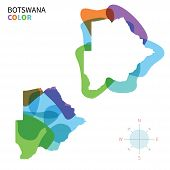 Abstract vector color map of Botswana with transparent paint effect.