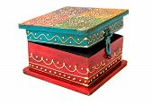 Vintage wooden square form casket from India