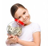 Cute Girl With Dollars
