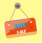 Red sign with text  Big Sale on dotted background