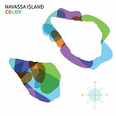 Abstract vector color map of Navassa Island with transparent paint effect.