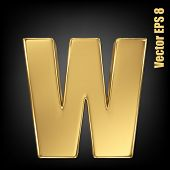 Vector letter w from gold solid alphabet. Lovercase golden font collection. EPS 8