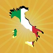 Italy sunburst map with flag illustration