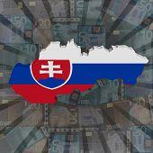 Slovakia map flag on euros sunburst illustration