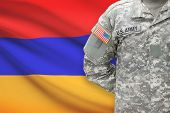 American Soldier With Flag On Background - Armenia