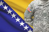 American Soldier With Flag On Background - Bosnia And Herzegovina