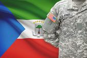 American Soldier With Flag On Background - Equatorial Guinea