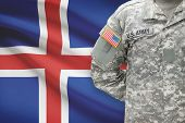 American Soldier With Flag On Background - Iceland