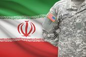 American Soldier With Flag On Background - Iran