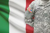 American Soldier With Flag On Background - Italy