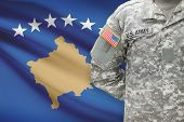 American Soldier With Flag On Background - Kosovo