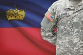 American Soldier With Flag On Background - Principality Of Liechtenstein