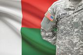 American Soldier With Flag On Background - Madagascar