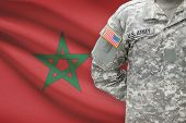 American Soldier With Flag On Background - Morocco