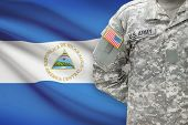 American Soldier With Flag On Background - Nicaragua