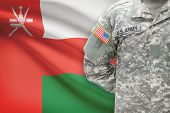 American Soldier With Flag On Background - Oman
