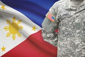 American Soldier With Flag On Background - Philippines