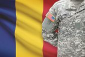 American Soldier With Flag On Background - Romania