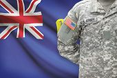 American Soldier With Flag On Background - Saint Helena