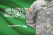 American Soldier With Flag On Background - Saudi Arabia