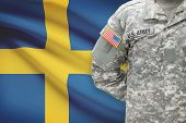 American Soldier With Flag On Background - Sweden
