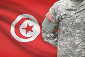 American Soldier With Flag On Background - Tunisia