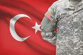 American Soldier With Flag On Background - Turkey