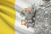 American Soldier With Flag On Background - Vatican City